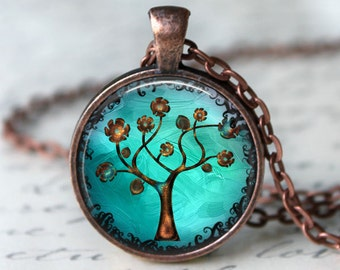 Copper Tree Necklace: Pendant. Charms. Art. Picture Pendant. Copper Jewelry. Handmade Jewelry. Jewellery. Whimsical Fantasy Jewelry