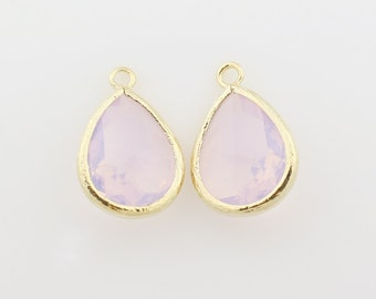 G000310P/Violet Opal/Gold plated over brass/Drop faceted glass pendant/11.4mm x 17.1mm /2pcs