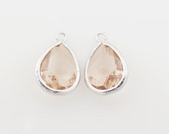 G000304P/Light Peach/Rhodium plated over brass/Drop faceted glass pendant/11.4mm x 17.1mm /2pcs