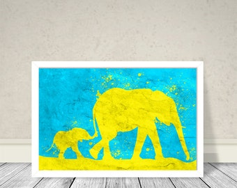 Elephants Mother and baby Art, Animals Art, Elephants Kids room, Ciel, Yellow,  Wall Art, Kids Room decoration