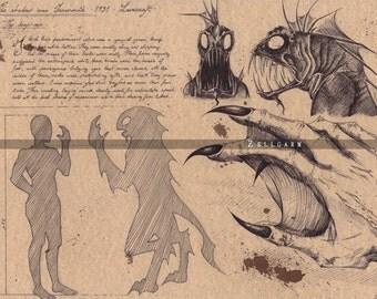 Lovecraft Art Print - Deep One