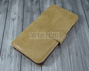 FREE SHIPPING - Personalized Tan iPhone 6s-Plus Wallet Case - Leather