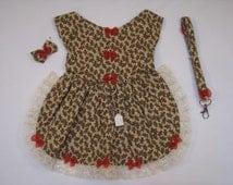 Brown GingerBread Men XS-LRG Dog Pet Rabbit Pig Hanress Dress with matching Leash Hairbow Charm Maltese Dress Yorkie Dress