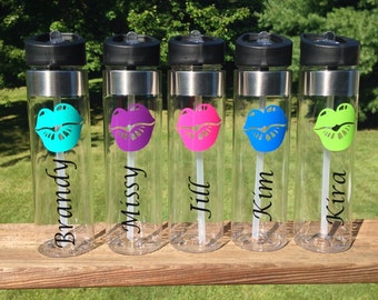 Water Bottles with Big Lips and Name - choose your colors and font!