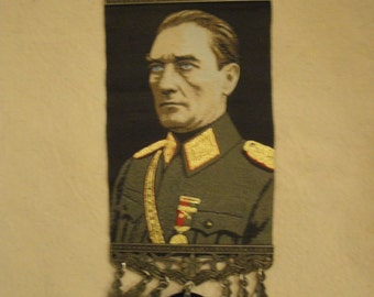 Ataturk military pose wall tapestry, republic, wall hanging with Ottoman coins