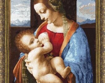 "Cross Stitch Kit By Golden Fleece - Leonardo Da Vinci ""Madonna Litta"""