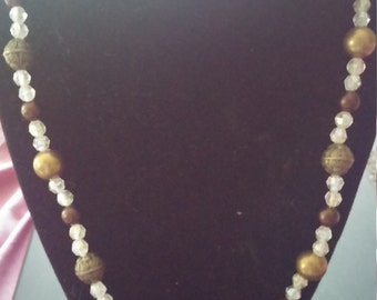 crystal and brown bead necklace