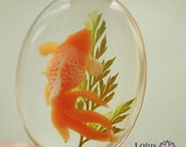1pcs Cabochon Oval Handmade Green flowers orange fish  transparent resin 30mmx40mm   Jewelry Accessories - NDK003