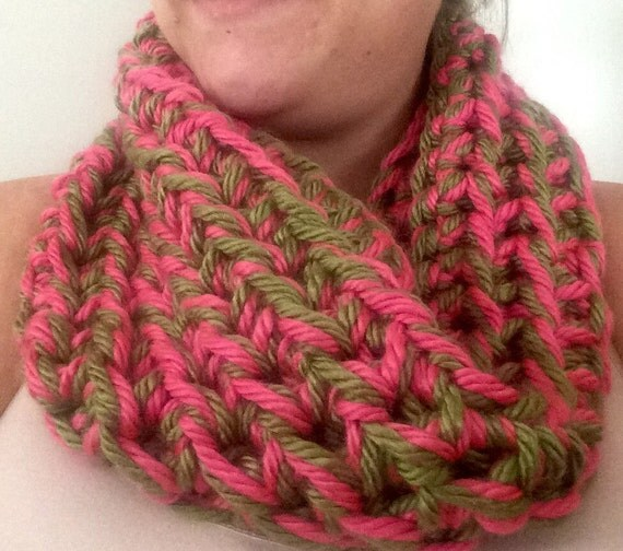 Beautiful pink and green hand crocheted cowl neck infinity scarf