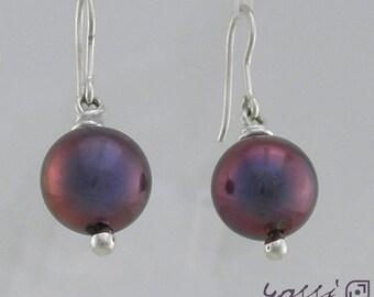 Black Fresh Water Pearl 9 ct White Gold Hoop Earrings