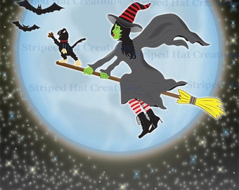 Witch Poster - digital download 40'' x 30'' , 20'' x 15'' , 10'' x 7.5'' 300 DPI JPGs printable