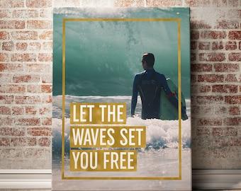 Surf Art Digital Print, Surf Poster, Surf Typography, Surf Printable, Surf Motivational Home Decor, Surfing Adventure Decor, Surfing Art