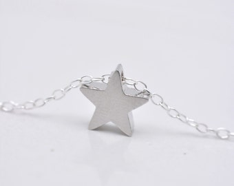 Silver Star Necklace, Tiny Star Necklace, Mini Star Necklace, Minimalist Necklace, 925 Sterling Silver Chain - Gift for Her 0263