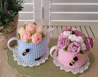 English Rose Bouquet Tea Cosy - All crochet