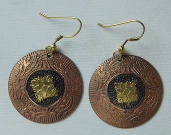Earrings Vintage Copper and Bronze
