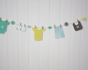 Baby Boy Paper Clothesline Bunting