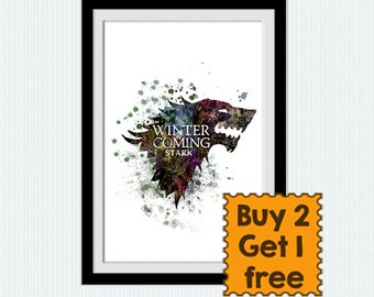 House Stark Banner Watercolor Poster Game Of Thrones Poster House Stark Colorful Print Home Decoration Gift