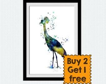 Grey crowned crane watercolor print Crowned crane poster Bird print Crowned crane print Home decoration Kids room decor Christmas gift  W304
