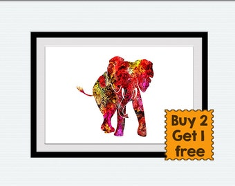 Watercolor elephant print, elephant poster, archival elephant art, colorful silhouette, wall decor, illustration, wall poster,nursery, W44