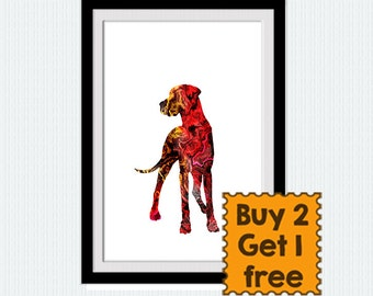 Dog watercolor print, colorful dog lovers poster, watercolor gift print, nursery, living room, home decoration, wall hanging, kids room, W39