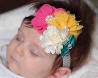 Fall baby headband-Fall newborn headband-Fall flower headband-hot pink headband-Teel headband-Ivory headband-yellow headband-Fall hair bow