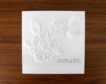 Divine Invitation SAMPLE - White Lace Invitation with Sequin Lace Flower