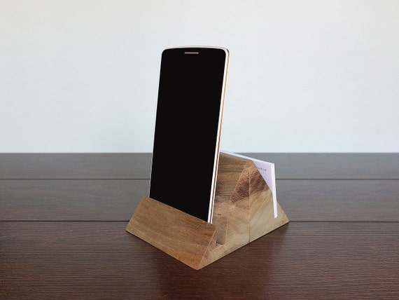 Items similar to wood iphone and business card holder for Iphone business card holder