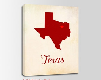 Texas Canvas Print, Texas Vintage Print, Texas Map, Personalized Art, Wall Decor, Vintage Map, Nursery Art, USA