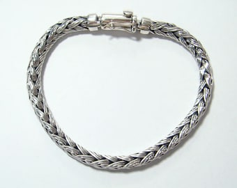 Woven bracelet 925 sterling silver triple silver wire weave to square shape,clasp with double safety