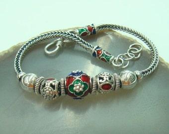 Womens bracelets 925 sterling silver flower with enamel