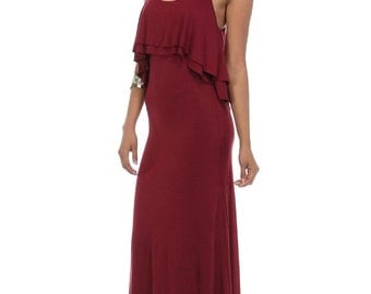 Self-Tie Ruffle Maxi Dress