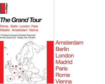"Red Maps ""Grand Tour"" City Guide Set (Amsterdam, Berlin, London, Madrid, Paris, Rome, Vienna)"