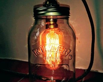 Mason Jar Lamp , Mason Jar Light , Kilner Jar lamp, Rustic style UK