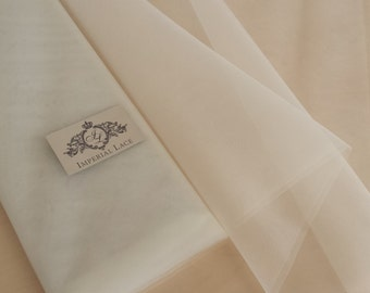 "Iwory stiff tulle fabric - 108"" (300cm) wide - sold per metre"