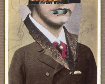 """surreal collage,paper collage, cabinet photo, surreal art, art, collage """"Mathematician..."""""""