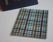 Passport Cover, Brown & Blue Gingham, Passport  Sleeve, Case, Holder