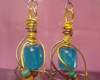 Big Brazilian Earrings,Big,Colourful Earrings,Beaded Earrings,Southamerican Beads,Gold Wired Earrings,Turquiose Earrings,Jewelry,Chic,Wired