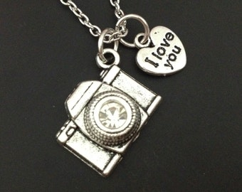 Camera necklace - silver camera charm -  photographer necklace -  tiny heart - love necklace - best friend - friendship gift