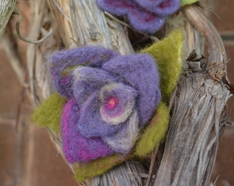 Handmade Felted Water Lily and Flower Brooch
