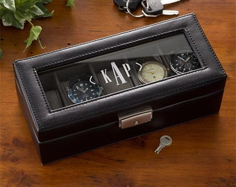 Leather 5 Slot Personalized Watch Box- Monogram