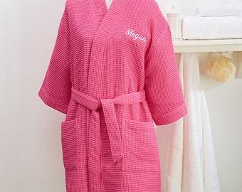 Embroidered Pink Kimono Robe- Name