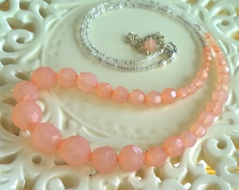 Salmon Pink Beaded Necklace