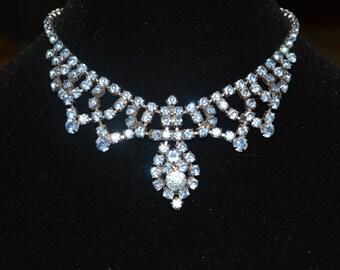 Vintage blue rhinestone necklace choker signed Gale.