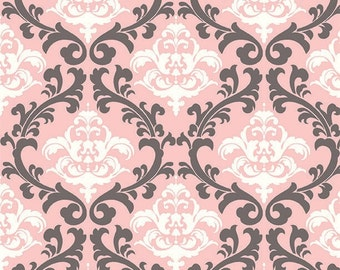 Pink and gray damask minky fabric by the yard