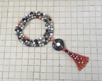 8MM Hand Knotted Natural Black Banded Agate, Sponge Coral, Black Lava & Coin Pearl 108 Mala Tassel Necklace