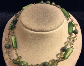 Vintage Long Shades Of Green Beaded Necklace