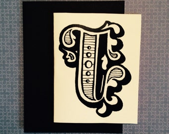black and white J stationary greeting cards