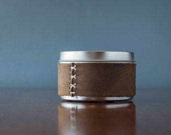 Handmade Beeswax Leather Wrapped Candle Tin