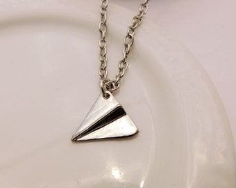silver paper airplane necklace simple necklace origami necklace fun necklace bridesmaid gift , wedding gift