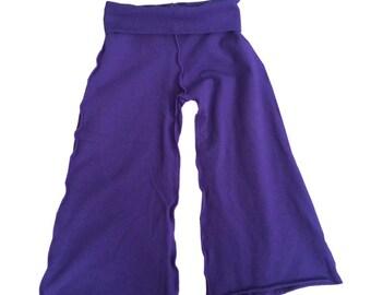 CLEARANCE - Girls Yoga Capri with Fold Over Waist in Purple
